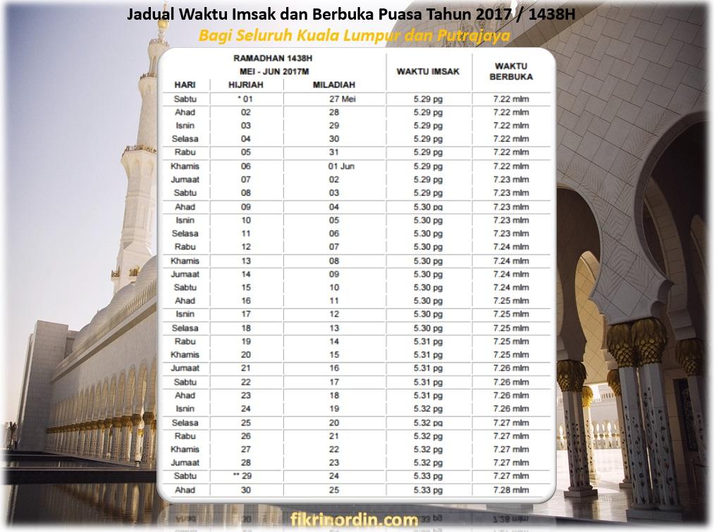 Jadual Waktu Imsak dan Berbuka Puasa Tahun 2017 / 1438H Kuala Lumpur dan Putrajaya