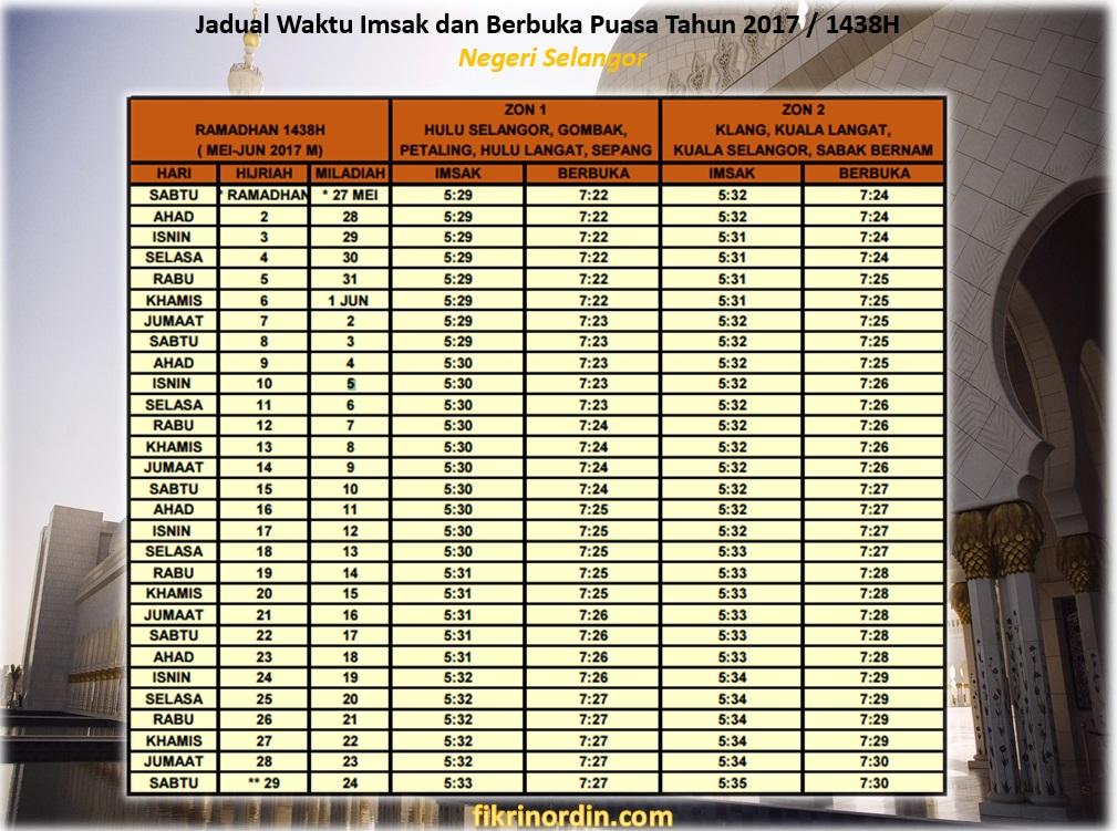 Jadual Waktu Imsak dan Berbuka Puasa Tahun 2017 / 1438H Negeri Selangor